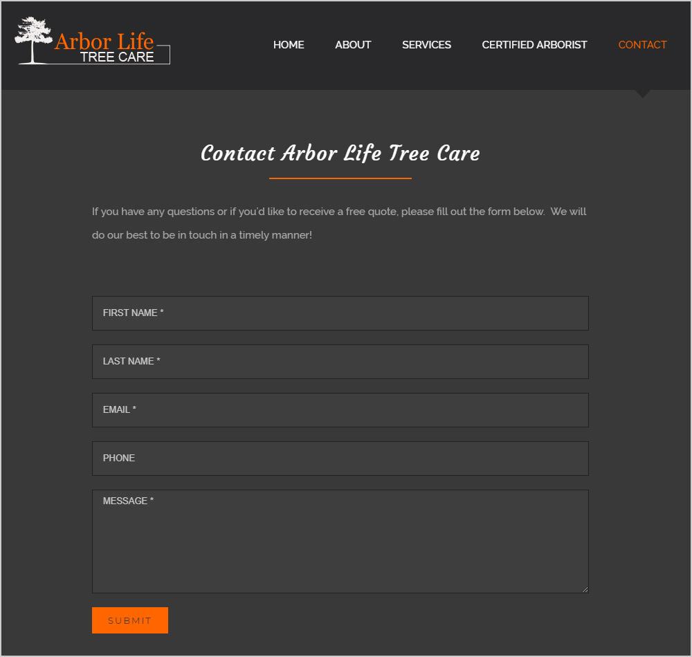 Arbor Life Tree Care webpage