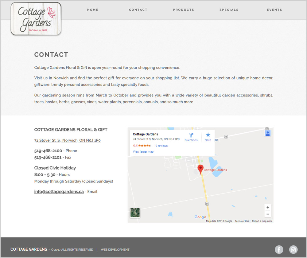 Cottage Gardens webpage