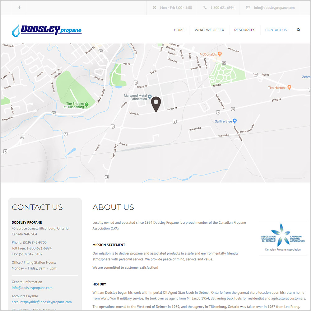 Dodsley Propane webpage