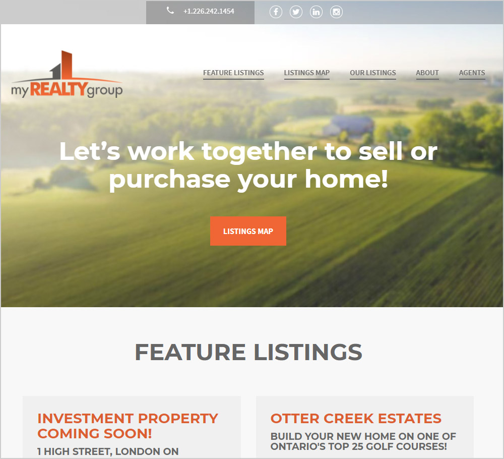 My Realty Group webpage