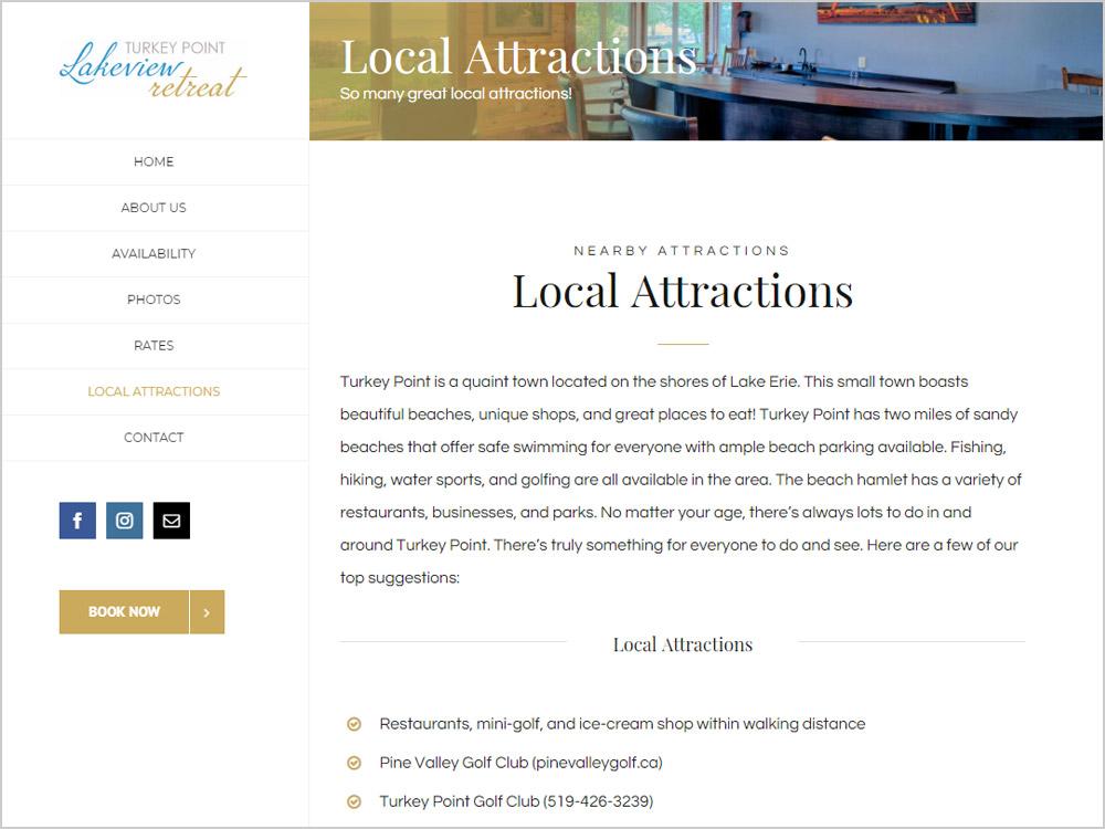 Turkey Point Lakeview Retreat webpage