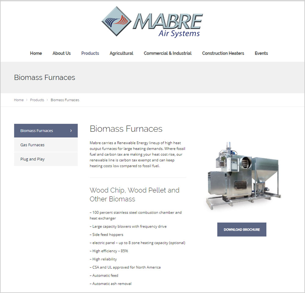 Mabre Air Systems webpage