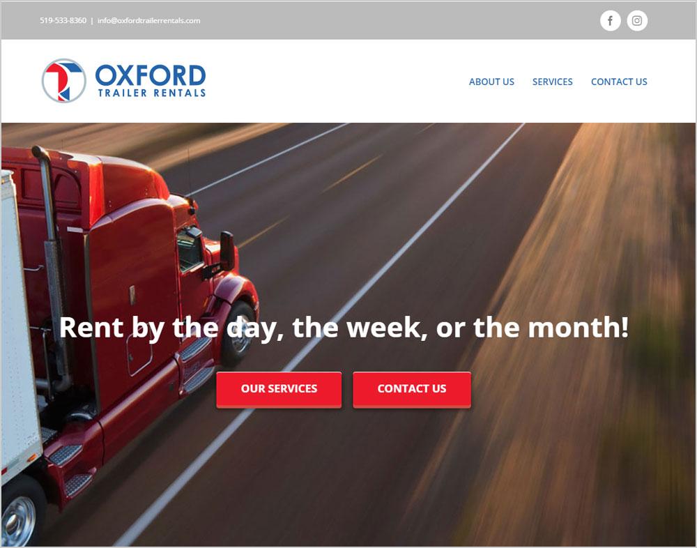 Oxford Trailer Rentals webpage